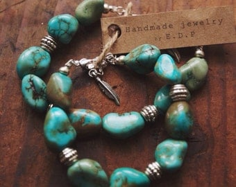 CTB-01 Free U.S. Shipping, chunky turquoise and silver beads bracelet