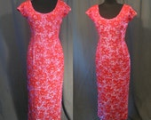 Fabulous Vintage 1950s Floral Red Beads and Pink Iridescent Sequins / 50s Evening Gown Cocktail Dress / Beautiful bead work over Rayon Crepe