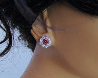 Red sparkling rhinestone clip on earrings, solitary cliff-on earrings
