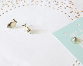 SALE!! Cream, Beige And Brown Vintage Bunny Rabbit Stud Earrings