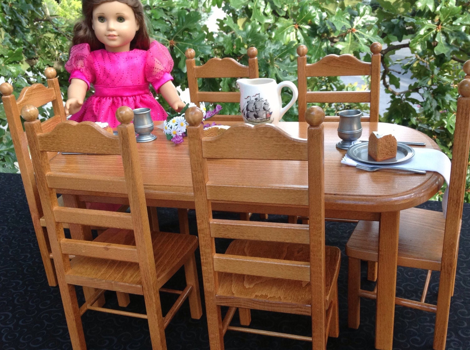 american girl doll furniture table 6 chairs stained oak. Black Bedroom Furniture Sets. Home Design Ideas