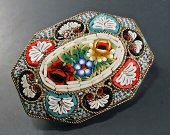ANTIQUE MICRO MOSAIC  brooch.  vintage . flower . Italy No.0021 cs