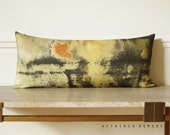 Yellow abstract art lumbar pillow. Vintage inspired long cushion cover .. / RETRO-MODERN