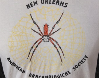 Vintage New Orleans American Arachnological Society t shirt USA L