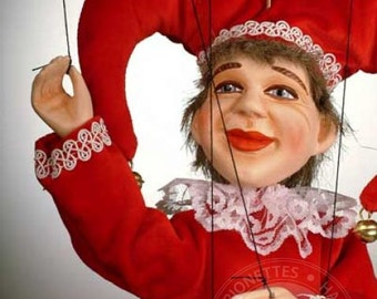 Red Jester Czech Marionette Puppet
