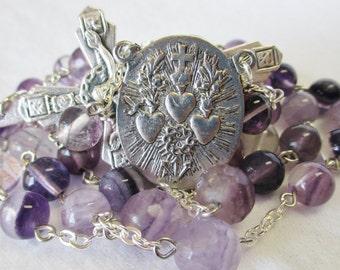 Handmade Catholic Rosary, Beautiful Rainbow Fluorite Gemstone Beads, RARE Three Holy Hearts Center, Crown of Thorns Crucifix