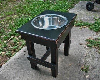 Contemporary Single Bowl Feeder Large Dogs, Elevated,  Antique Black Cottage Chic One 3 qt Bowl Raised Pet Feeder Made to Order