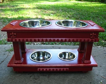 Double Elevated Dog Bowl Feeder, Two Dog Feeder, Distressed Colonial Red, 2 Two Quart Bowls, 1 One Quart and 1 One Pint, Two Tier Feeder