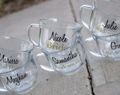 Bridesmaids gift idea, personalized glass Coffee mug. Custom wedding tea cup.  Black and gold modern wedding. Bridesmaid, Maid of Honor gift