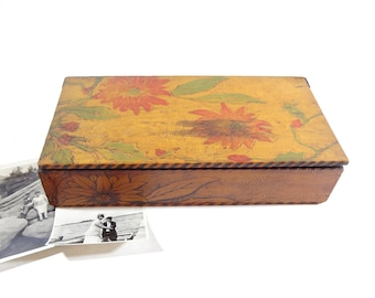 Vintage Wooden Floral Jewelry Box
