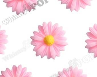 10 - Bubblegum Pink Gerber Daisy Sunflower Resin Cabochons, Daisy Cabochons, Flower Cabochons, Flatback Daisy, Sunflower 22mm x 7mm (R6-004)