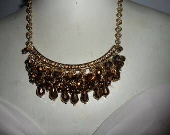 Authentic Vintage Gold Rhinestones Crystal And Glass Stunningly Beautiful Chunky Gold Necklace