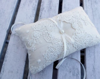 Ring bearer Pillow, Wedding ring Cushion in Champagne Raw  Silk With a Strip of cream  Lace