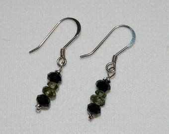 Genuine Czech Republic Moldavite and Jet Earrings Sterling Silver Genuine Moldavite Dangle Earrings