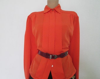 Buttoned Blouse Vintage / Orange / EUR44 / 46 / UK16 / 18