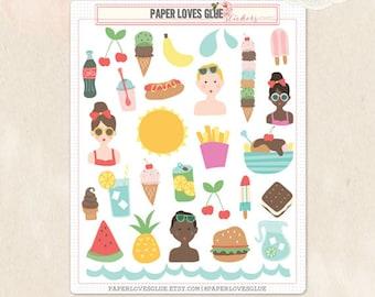 29 Summer Days, Beach, Pool, Planner Stickers, Calendar Sticker, Planner Accessories, Erin Condren, Filofax, Project Life
