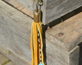 Suede and Bead Tassel