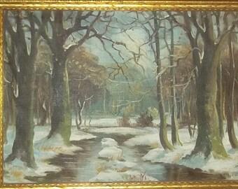 Original Oil Canvas Painting Landscape Trees Listed Artist Boye Givskov Danish