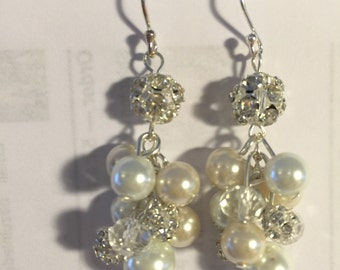Ivory and white clustered pearl earrings on sterling silver earwires - wedding jewelry ,  bridesmaid jewelry