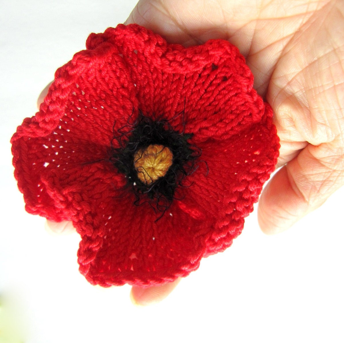Knitting Pattern For Poppy Flowers : Knit Flower Instant Download PDF Pattern Poppy Flower