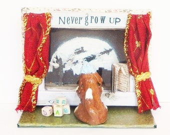 Peter Pan mixed media mini canvas shelf sitter with Nanny dog at the window in polymer clay, Miniature art, Assemblage art