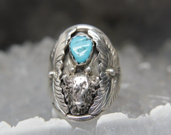 Men's Buffalo Turquoise. Sterling Silver Vintage Native American Jewelry. Father's day gift dad present man ring.