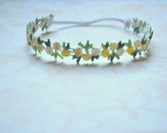 Yellow Flower headband-newborn, babies,spring, summer, Easter, photo prop, newborn halo