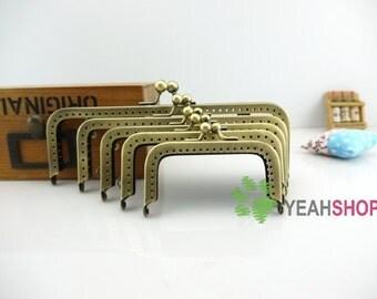 Antique Brass Purse Frame - Rectangle Bead (RPF-42) - Select a Size