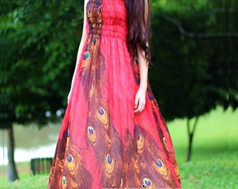 Red Peacock Maxi Dress Sundress Dress Prom Summer Plus Size Evening Dress