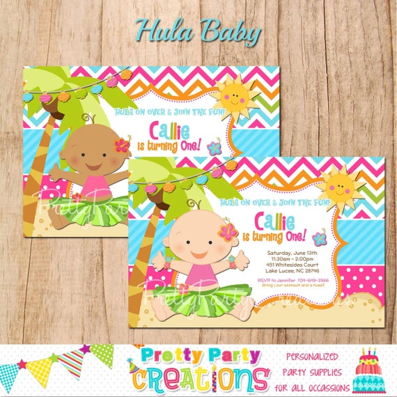 HULA BABY invitation - you PRINT - with or without photo