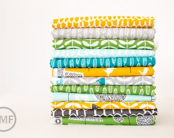 Yoyogi Park Complete Fat Quarter Bundle, 12 Pieces, Skinny laMinx, Heather Moore, 100% GOTS-Certified Organic Cotton, Cloud9 Fabrics