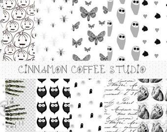 Scary Halloween Backgrounds, Halloween Digital Papers, Moths, Owls, Bones, Retro Halloween Texture, Halloween Paper Pack, Commercial Use
