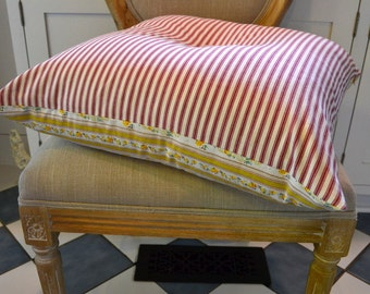 Red Ticking Tufted Floor Pillow Throw Pillow Yellow Roses Home Decor