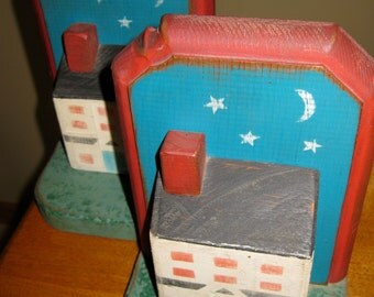 Folk Art Painted Wooden House Bookends Country Decor Kid's Decor