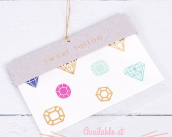 Gem Diamond Jewel Temporary Tattoo Party Favor Gift for Bridal Shower Engagement Bachlorette Party