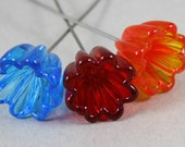3 Glass fairy garden flowers in blue, red and orange (Item 15732F)
