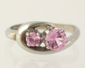 Synthetic Pink Sapphire Ring - 10k White Gold Women's Size 5 1/4 Fine .85ctw Y3201