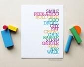 Girl Boy Nursery Wall Art, Baby To-Do List, Typograhy, Choose Colors