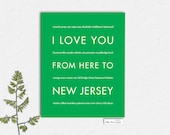 New Jersey Travel Artwork Poster, I Love You From Here To NEW JERSEY, Shown in Bright Green - Choose Color Canvas Frame Travel