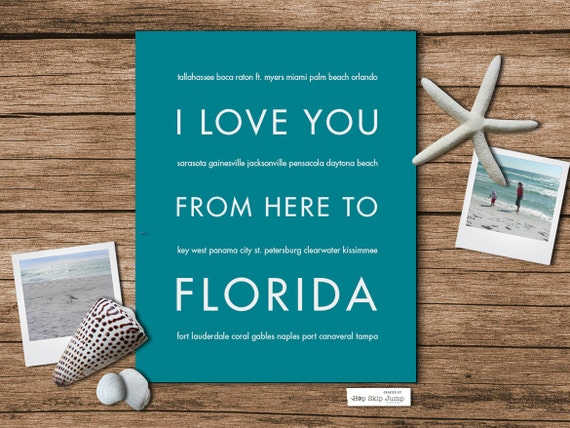 Florida State Art, I Love You From Here To FLORIDA Art Print, Shown in Teal - Choose Color Canvas Frame, Free U.S. Shipping