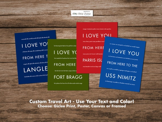 Deployment Gift, Long Distance Going Away Gift, USMC, Army, US Navy, USAF, Custom Art Poster