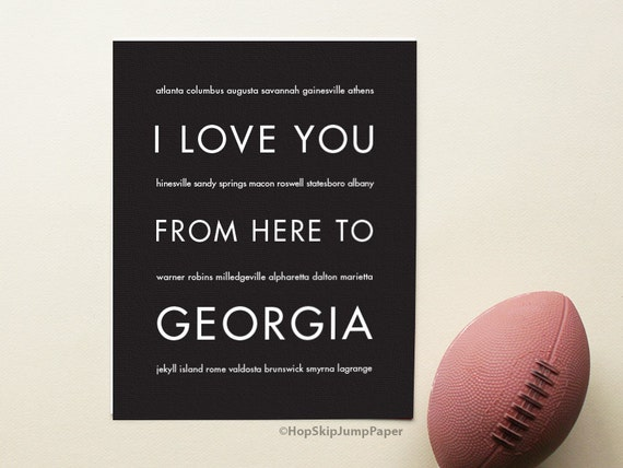 Georgia State Poster, I Love You From Here To GEORGIA, Shown in Black - Choose Color Canvas Frame Travel