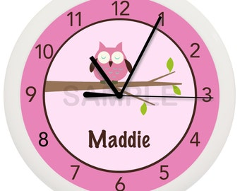 Personalized Pink Owl Nursery Wall Clock