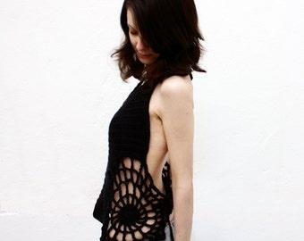 Halter Top Crochet Pattern: Spiderweb Sided Adjustable Corseted Halter Festival Top Adult DIY Halloween Costume