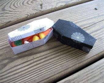 Printable Halloween Black and White Mini Coffins Spiderweb Favor Box DIY Halloween Gift Box Goth Wedding
