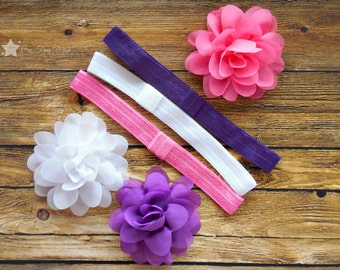 Hair flower, interchangeable elastic headband, Set of 3 each, pink, white, purple, infant headband, newborn headband, baby girl, headband