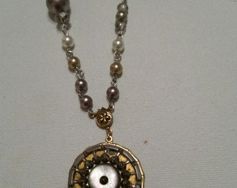 BUTTON NECKLACE 19th Century Victorian Cut Steel and Mother of Pearl