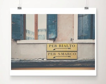 architecture photography, venice photograph, italy, europe, window, shutter, yellow, blue, signs, travel photograph, pink