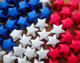 Red, White, and Blue Origami Stars, set of 48. Table Scatter, Fourth of July.