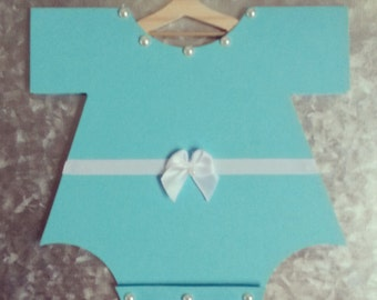 Magnetic Teal and White Onesie Baby Shower Invitation